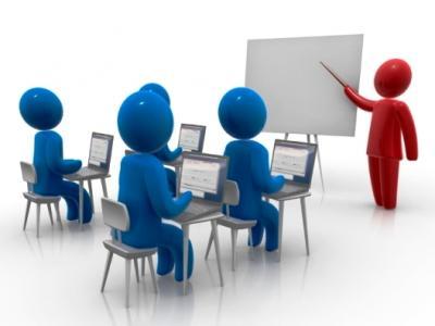 Ilustração mostra uma sala de aula com professor e estudantes