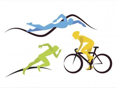 Ilustração mostra desenho de modalidades do triathlon