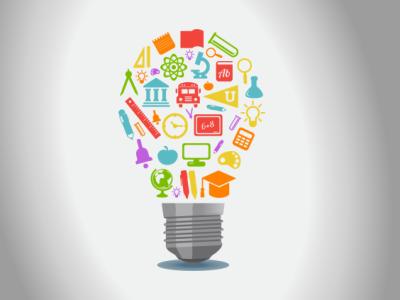 Ilustração mostra uma lâmpada com símbolos relacionados à educação