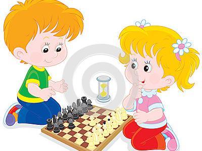 Imagem apresenta arte de crianças jogando xadrez