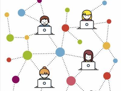 Imagem mostra de pessoas de comunicando através do computador