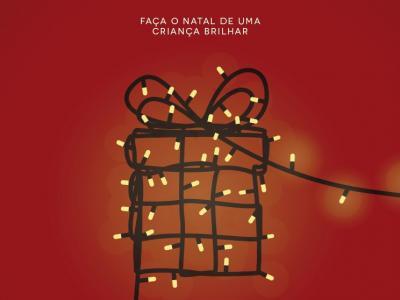 Ilustração mostra um presente desenhado com luzes de natal