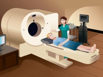 Imagem mostra desenho de pessoa em máquina de radioterapia