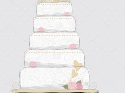Imagem representa desenho de bolo de noiva