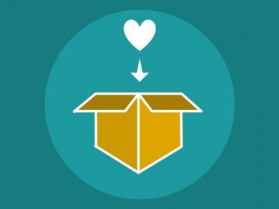 Ilustração mostra um coração e uma caixa de papelão