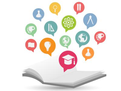 Ilustração mostra um caderno e vários símbolos relacionados à educação