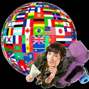 A imagem mostra uma pessoa ao lado de várias bandeiras