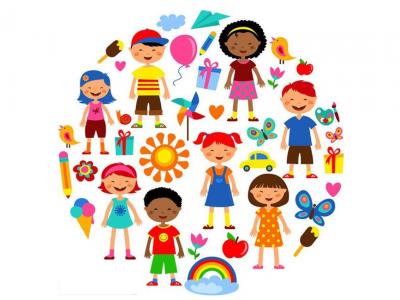 Ilustração mostra crianças e símbolos relacionados à infância