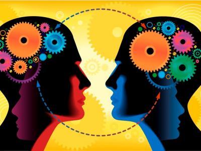 Ilustração mostra engrenagens na cabeça de pessoas