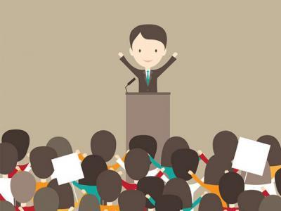 Imagem mostra arte de pessoa durante palestra