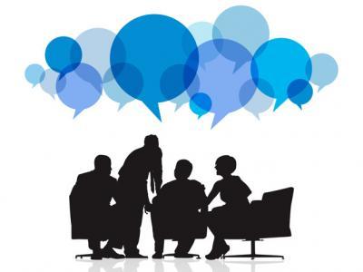 Imagem mostra ilustração de reunião de pessoas