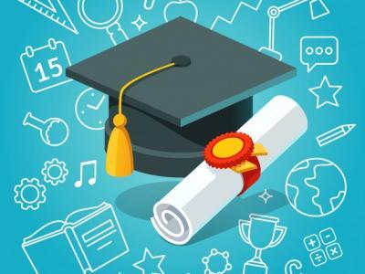 Imagem mostra diploma e capelo