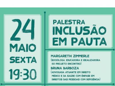 Imagem mostra banner da palestra