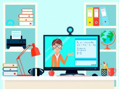 Imagem mostra professora dando aula através do computador