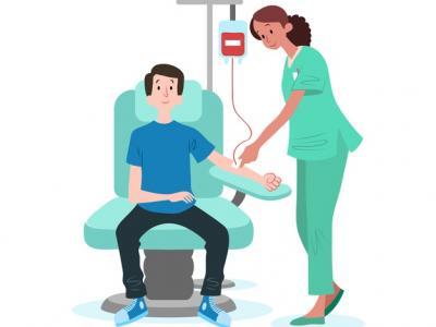 Imagem mostra ilustração de pessoa doando sangue