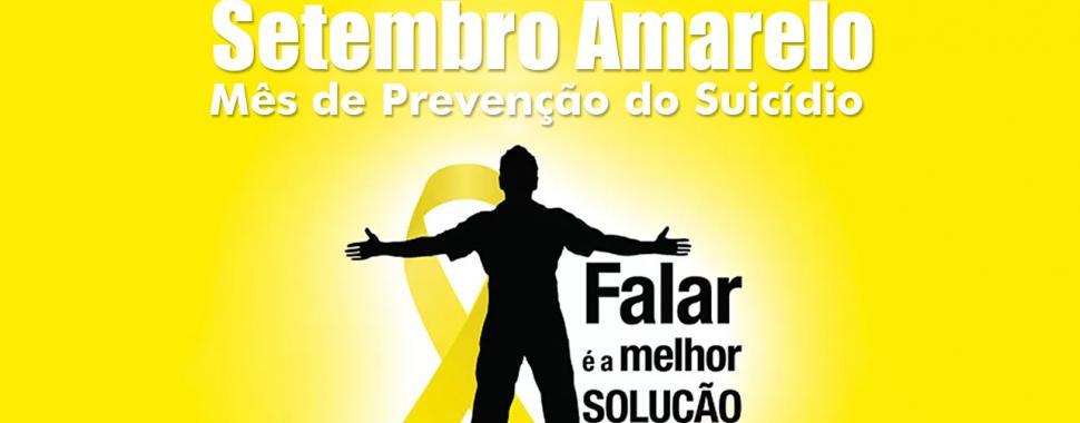 imagem mostra a logomarca do setembro amareloc com seu slogan falar é a melhor solução
