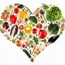 Imagem mostra coração formados por verduras e legumes