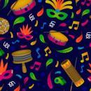 Imagem mostra adereços usados no carnaval e instrumentos musicais