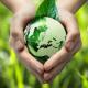 imagem  mostra o planeta terra sendo protegido por mãos