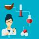 imagem mostra desenho de cientista e remédios