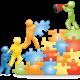 Ilustração mostra bonecos construindo uma escada